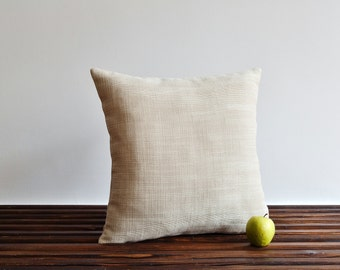 Indoor outdoor, decorative pillow cover - Cream ivory, heavy textured pillow case - 20x20 cushion cover