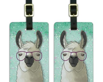 Hip llama with glasses luggage id tags suitcase carry-on cards - set of 2