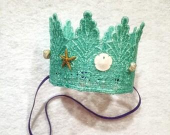 MERMAID CROWN,  mermaid photoshoot, mermaid birthday, lace mermaid crown, lace crown, birthday crown, crown, ocean crown, ariel crown