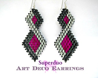 Tutorial Superduo Earrings Peyote Art Deco Instant Pattern Download Suitable for all levels. Original design by Butterfly Bead Kits