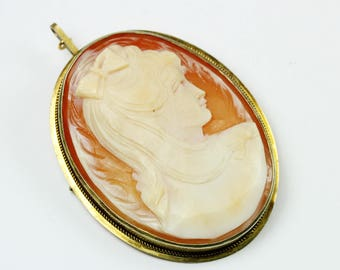 Vintage Art Nouveau Style (1890-1910) Sterling Silver Gold Plate Conch Shell Cameo Brooch