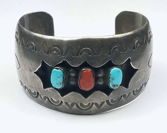 Vintage Native American Navajo handmade Sterling Silver Turquoise and Coral cuff bracelet