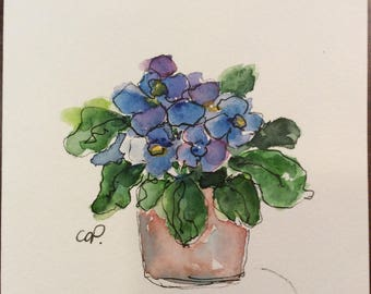 Blue Primrose Watercolor Card / Hand Painted Watercolor Card
