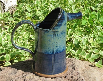Pottery Pitcher, Wheel Thrown Pitcher, Ceramic Pitcher, Stoneware Pitcher, Hand Made Pitcher, Steam Locomotive, Oil Can