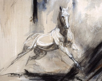 """Horse Art Painting White Andalusian Baroque Equine Galloping into Abstract  Landscape """"Dad's Horse"""" Print"""