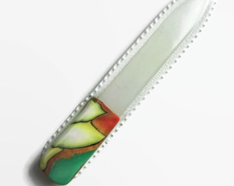 Czech Crystal Nail File, Small Glass Nailfile, Green, Copper, Yellow and White with Blue Accents // gifts for her // bridesmaid gifts