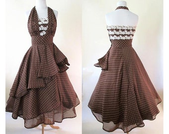 "Dreamy 1950's ""Emma Dome"" Designer Halter Top Cocktail Party Dress Vintage Party Dress size small"