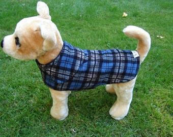 Dog Jacket -  Blue and Black Corduroy Plaid Coat- Size XX Small- 8 to 10 Inch Back Length - Or Custom Size