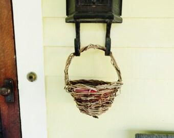 Flower Girl Basket, Rustic Twig Basket, Eco Conscious Wedding, English Ivy, AB