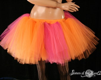 Sherbet Monster tutu skirt extra puffy adult hot pink orange dance roller derby   -- You Choose Size -- Sisters of the Moon