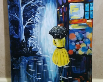 "16 x 20"" City lights at night umbrella girl acrylic painting"