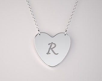 Solid Gold Heart Initial necklace - Floating necklace. 14k, 18k Gold including rose and white Gold and Platinum