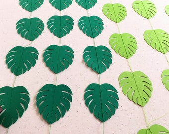 Tropical Leaf Garland. Green monstera leaves. Tropical party backdrop. Baby shower, baby sprinkle, birthday party decorations.