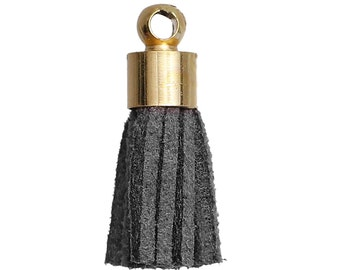 10 Tiny DARK GRAY / GREY Velvet Suede Tassel Charm Pendants, gold-plated base 17mm long . cho0172