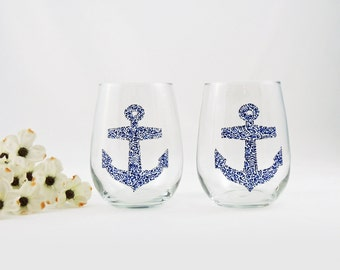 Anchor wine glasses - Set of 2 - Sea Glass Collection