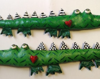 Soft Sculpture Alligator with Heart