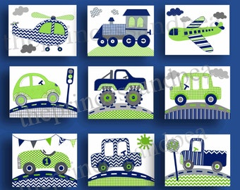 navy green nursery art, blue green nursery bedding art, blue green cars trucks transportation kids art, kids children boys art prints