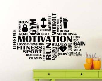 Fitness Word Cloud Wall Decal Quote Gym Motivational Vinyl Sticker Sport Workout Poster Home Room Inspirational Art Decor Custom Mural 116gy