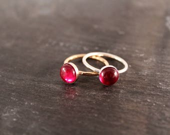 Ruby Thick Gemstone Ring - ONE RING (Gold Rose Gold Sterling Silver July Pink Birthstone Stacking Ring Gifts for her Under 50)