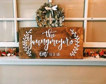 Custom Last Name Wooden Sign - Established Date Sign - Name Wooden Sign - Important Dates Sign- Customizable Sign - Wedding Present - Wood