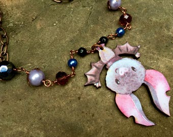 Hanging, whimsical bat pendant necklace, purple, woodcut, laser cut