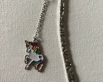 Silver Bookmarks Shepherds Hook Metal Book mark Unicorn Charm