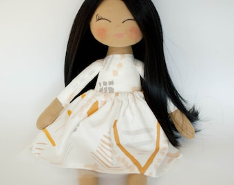 Princess doll, dark skin doll, rag doll, cloth doll, black hair, golden crown, cream outfit, birthday gift, girl gift