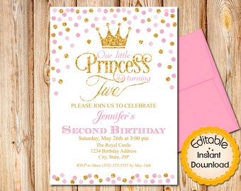 2nd birthday invite etsy pink and gold second birthday invitation princess confetti 2nd birthday instant download editable in adobe reader diy printable stopboris Images