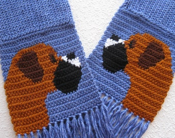 Knit Boxer dog scarf.  Periwinkle crochet and knitted scarf with fancy boxer dogs. Boxer gift