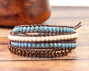 Southwestern Style Turquoise Bracelet Brown Leather Wrap Bracelet Boho Jewelry Bronze Bohemian Bracelet Aqua Blue Wrap Cream Skinny Bracelet