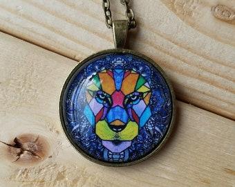 Geometric lion necklace