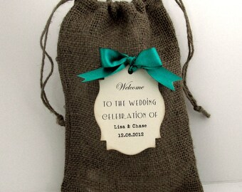 8 X 12 inch  Rustic Burlap Wedding Welcome bags - Set of 10 - Personalized - Travel - Destination