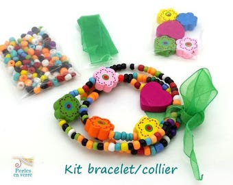 Green Princess Kit! Seed beads bracelet/necklace, wooden beads and Ribbon (kit112)