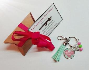 "Keychain jewelry bag ""gift Grandma"" pink heart and flower"