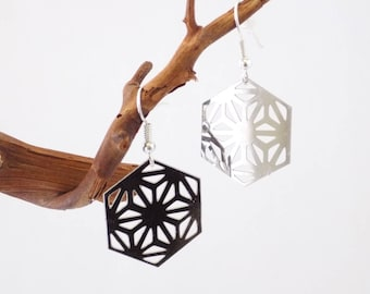 Filigrane Hexagon Silver Earrings