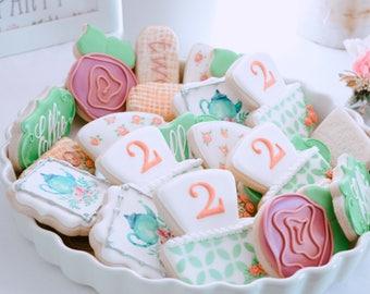 Tea for Two Baby Girl Cookies - 3 Dozen