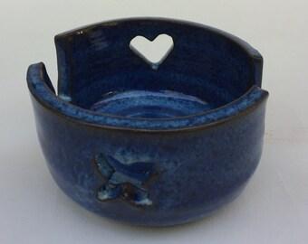 blue ceramic, sponge holder, handmade pottery, business card holder, sorter, ready to ship B17
