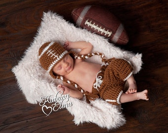 Newborn Football Hat and Shorts Photo Prop