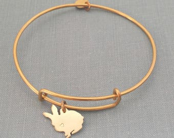 Bunny Adjustable Bangle Bracelet, Solid Brass Personalize Pendant Breed Silhouette Charm Rescue Shelter pet memorial jewelry