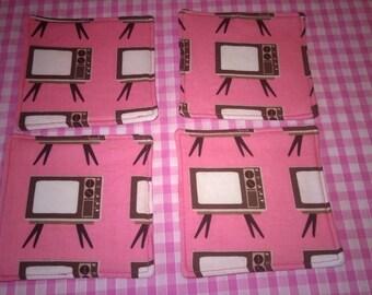 Handmade Pretty Riley Blake Geeky Tv Fabric Drink Coasters x 4