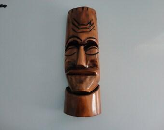 VINTAGE handmade straight face WOOD MASK