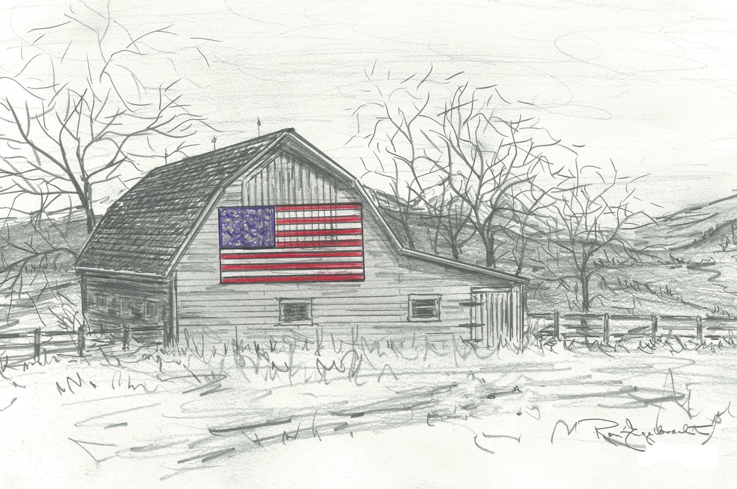Pencil Sketches Of Old Barns Drawings Note