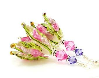Pink Flower Earrings, Tulip Earrings, Floral Earrings, Lampwork Earrings, Bead Earrings, Glass Bead Earrings, Glass Earrings, Flower Earring
