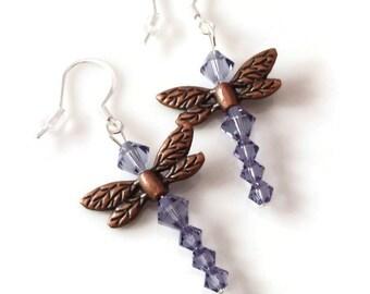Dragonfly Earrings, Purple Beaded Earrings, Dangle Earrings, Swarovski Earrings, Dragonfly Jewelry, Gift Idea
