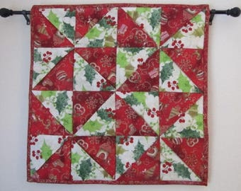 Holiday pinwheel quilted wall hanging or table topper