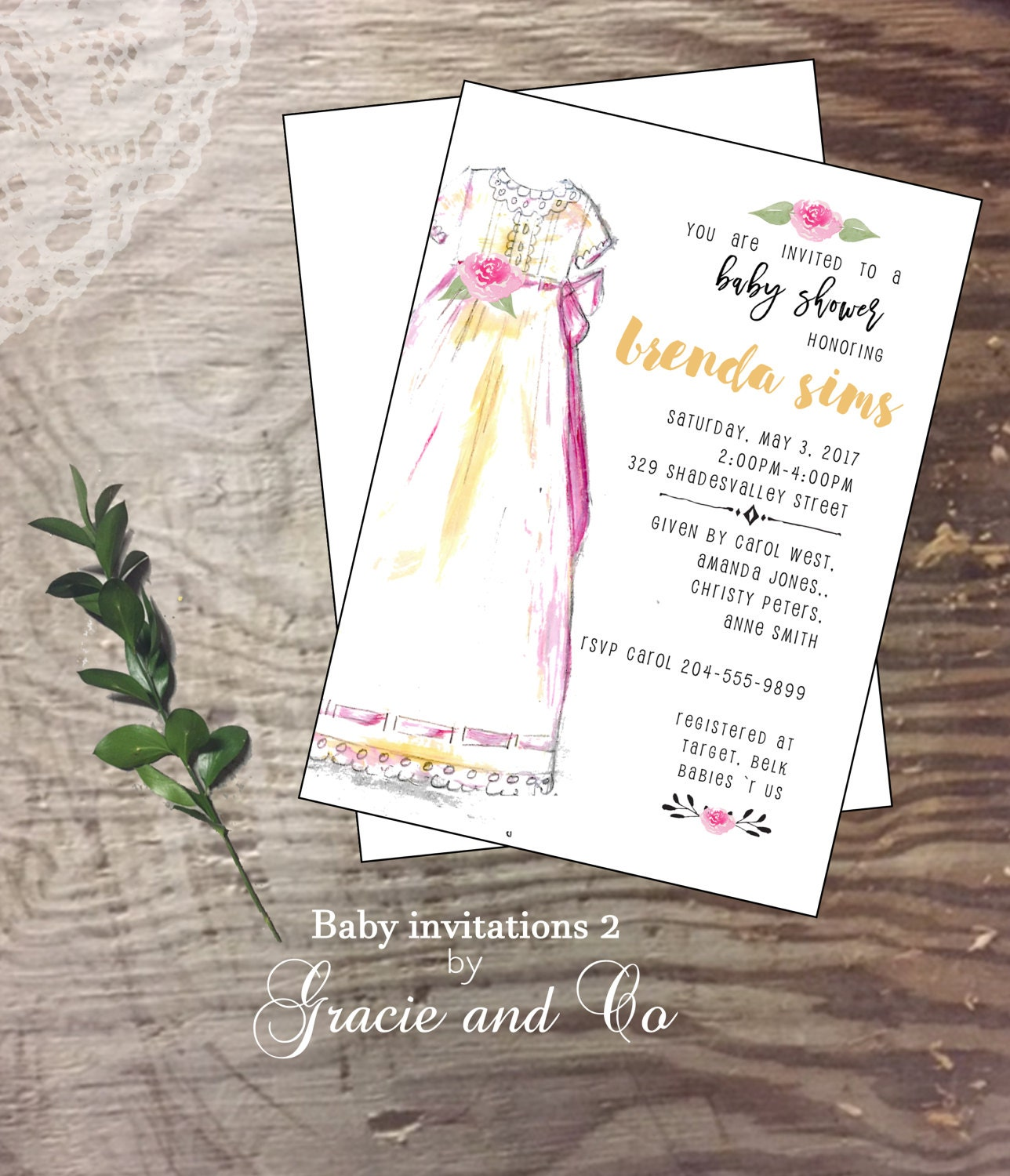 Baby shower invitation new baby baby girl shower party welcome