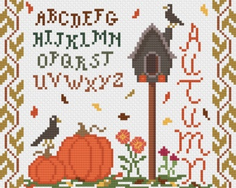 Autumntime Sampler Cross Stitch Pattern, Counted Cross Stitch Pattern