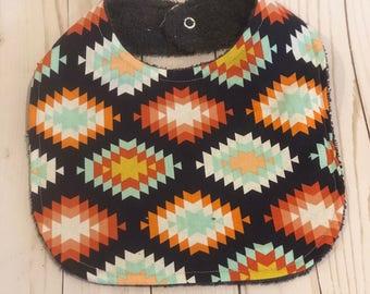Aztec explosion girl bib~ drool bib~ toddler bib~ girl bib~patterned bib