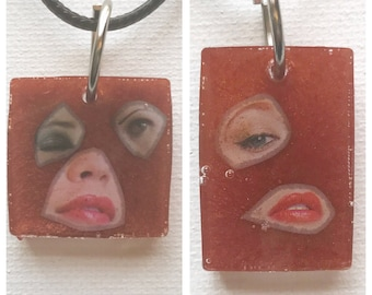 Copper Art Collage Necklaces