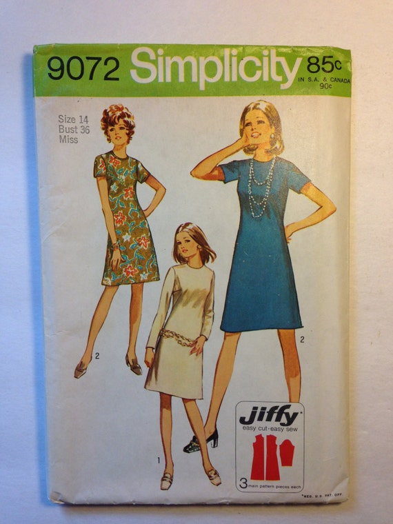 Simplicity Sewing Pattern 9072 70s Miss Petites and Misses Jiffy Dress Size 14